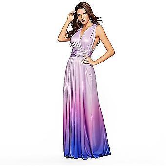 M púrpura de las mujeres sueltas maxi vestido largo casual con bolsillos x4068