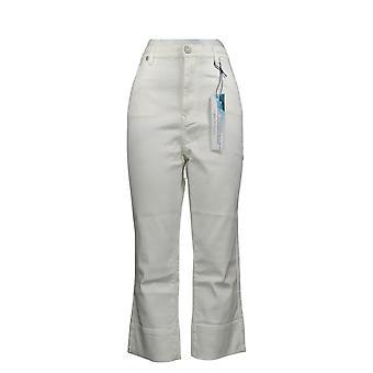 DG2 by Diane Gilman Women's Jeans Wide-Cuff Cropped Jean White 740967