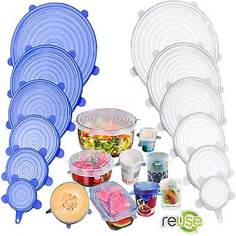 6pcs Kitchen Cookware Silicone Cover Stretch Lids Reusable Airtight Food Wrap Covers Keeping Fresh Seal Bowl Stretchy Wrap Cover