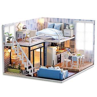 Cutebee diy poppenhuis houten poppenhuizen miniatuur poppenhuis meubels kit met led speelgoed voor kinderen kerstcadeau l023