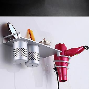 Silver 30x12cm space aluminum hair dryer rack [free punch/punch similar installation] homi4179