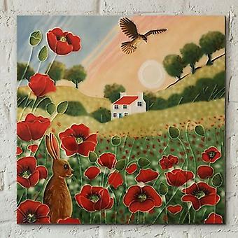 Flis 8x8 Poppy Meadow Solnedgang Av J Yates Veggkunst