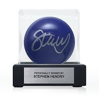 Stephen Hendry signerade Blue Snooker Ball. I displayväska med plakett