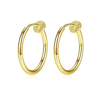 Ear Clips Circle S925 Sterling Silver Earrings For Exhibition