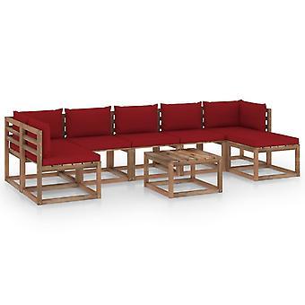 vidaXL 8-tlg. Garten-Lounge-Set mit Weinroten Kissen