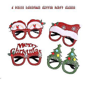 4 piezas de gafas de Navidad marco y diademas lindo cabello aro decoración accesorios Giftset para