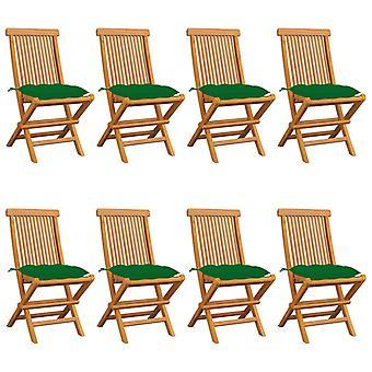 vidaXL Sillas de jardín con cojines verdes 8 Pcs. Teca de madera maciza