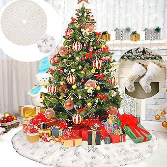 Christmas Tree Skirt Snowflake Gold White Plush Faux Fur Carpet Xmas Floor Mat Ornaments Merry Christmas Gift socks New Year Christmas Tree