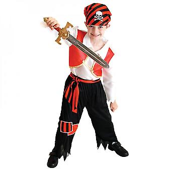 Children's Pirate Costume With Shoes, Hat And Belt For Boys And Girls Children's Clothing Pirates Of The Caribbean Captain Set-(b0054)