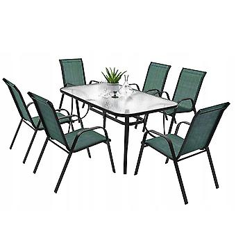 Garden table set green - with 6 chairs