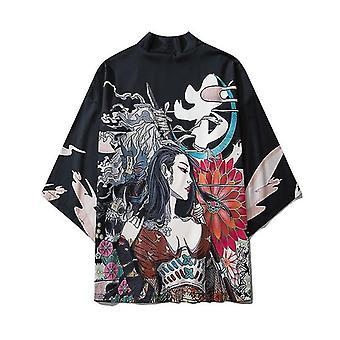 Gatto Samurai Kimono Streetwear Cardigan Harajuku Anime Veste Anime Vestiti