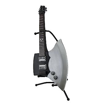 Chord Shredder Electric Axe Shaped Guitar Coin Bank On Stand 15 Inch