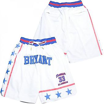 Men's #33 Bryant All American Royal Basketball Shorts Casual Outdoor Sport Pants Stitched Size S-xxl