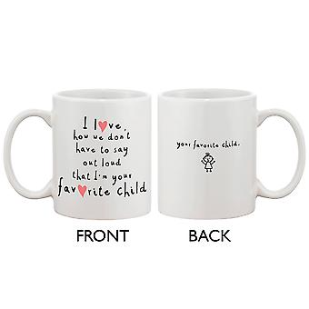 Söt keramiskt kaffekopp för mamma från dotter - jag är din favorit barn, mors dag present till mor 11oz mugg