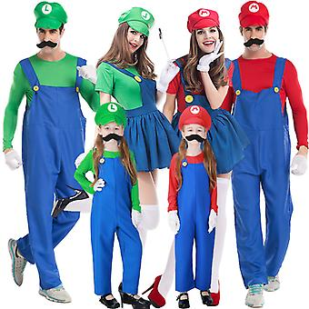 Super Mario Costume Halloween Christmas Party Cosplay Plumber Brother Costume