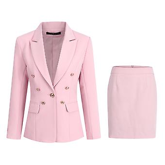 Homemiyn Women's Pure Color Single-breasted Two-piece Suit Dress (jacket + Short Skirt)