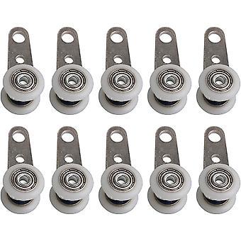 10er-Rollen-Set für Erker oder Schiebetüren - Metall und Kunststoff - 4,5 x 1,9 cm