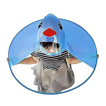 Söpö sarjakuva ankka lapset sadetakki sateenvarjo Ufo muoto sadehattu viitta taitettava