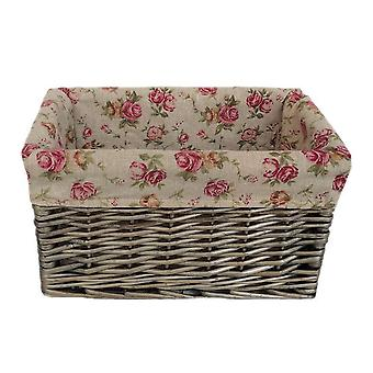 Small Antique Wash Garden Rose Willow Storage Baskets