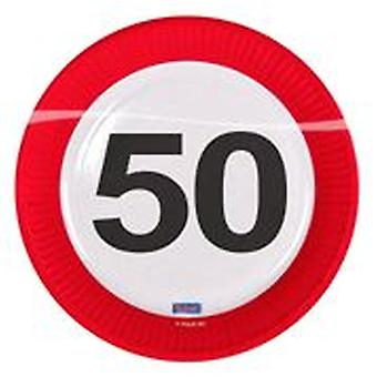 Party plate traffic sign number 50 birthday plates 8 PCs paper plates party