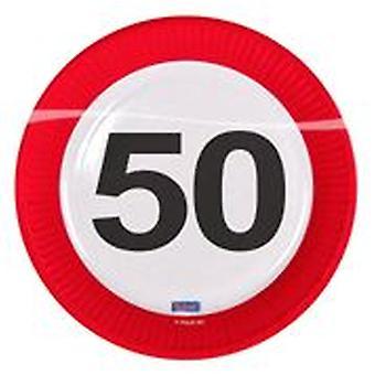 Πάρτι Plate πινακίδα κυκλοφορίας αριθμός 50 γενέθλια πλάκα 8 τεμ χαρτί πλάκας πάρτι