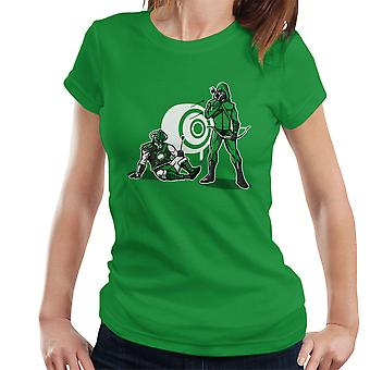 事故の緑色の矢印 Skyrim Dragonborn レディース t シャツ