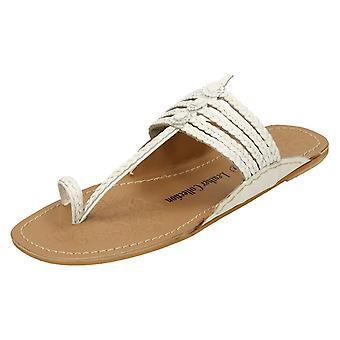 Dam Läder samling platta Toeloop flätad sandaler F00077