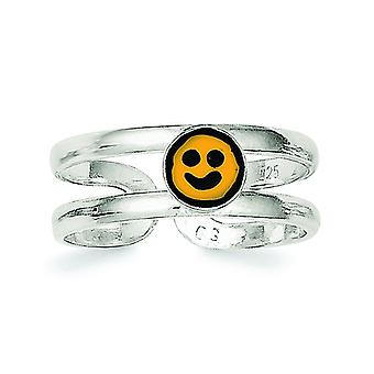 925 Sterling Silver Solid Yellow and Black Enameled Smiley Toe Ring Jewelry Gifts for Women