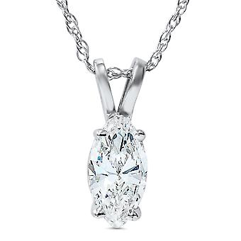 1ct Fancy Marquise diamant Solitaire anheng 14k hvitt gull