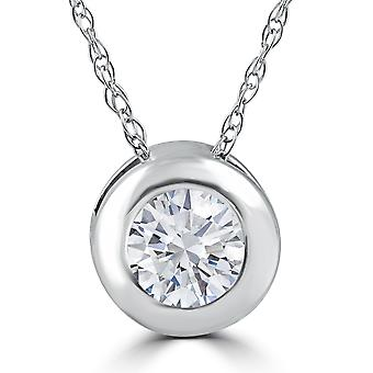 3/8ct Solitaire Bezel Real Diamond Pendant White Gold