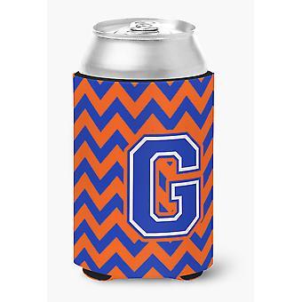 Letter G Chevron Orange and Blue Can or Bottle Hugger