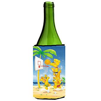 Bears playing Basketball Wine Bottle beverage Insulator Hugger