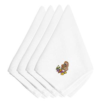 Thanksgiving Turkey and Fruit Embroidered Napkins Set of 4