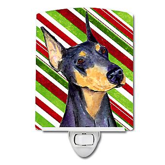 Doberman Candy Cane Holiday Christmas Ceramic Night Light