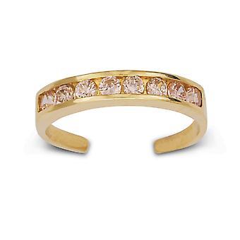 14k Giallo Oro Rosa C' Cubic arieti Simulato Diamante Regolabile Elegante Multistone Body Jewelry Toe Ring Gioielli Gif