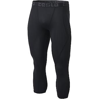 TSLA Tesla MUC18 Contour-Stitch 3/4-Length Compression Tights - Black/Black