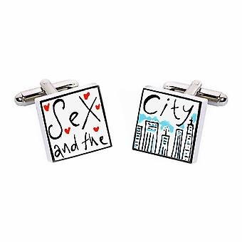Sex and the City Cufflinks by Sonia Spencer, in Presentation Gift Box. Hand painted