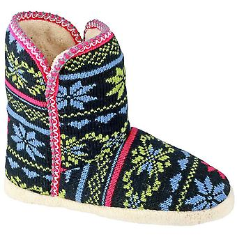 Divaz Ladies Oslo Slip On Patterned Snuggly Bootie Slipper Navy
