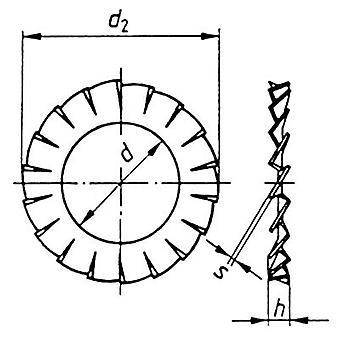 TOOLCRAFT A2,7 D6798 194751 Arandelas serradas Diámetro interior: 2.7 mm M2.5 DIN 6798 Acero de resorte 100 ud(s)