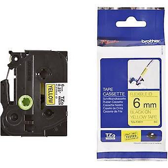 Merking tape (fleksibel) bror TZe-FX, TZ-FX TZe-FX611 Tape farge: gul skrift farge: svart 6 mm 8 m