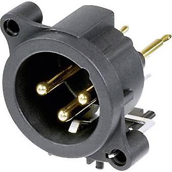 Enchufe el conector Neutrik XLR NC3MAV manga, pernos rectos número de pernos: 3 negro 1 PC