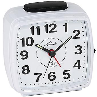 Atlanta 1561/0 clock quartz analog white rectangular square with light Snooze
