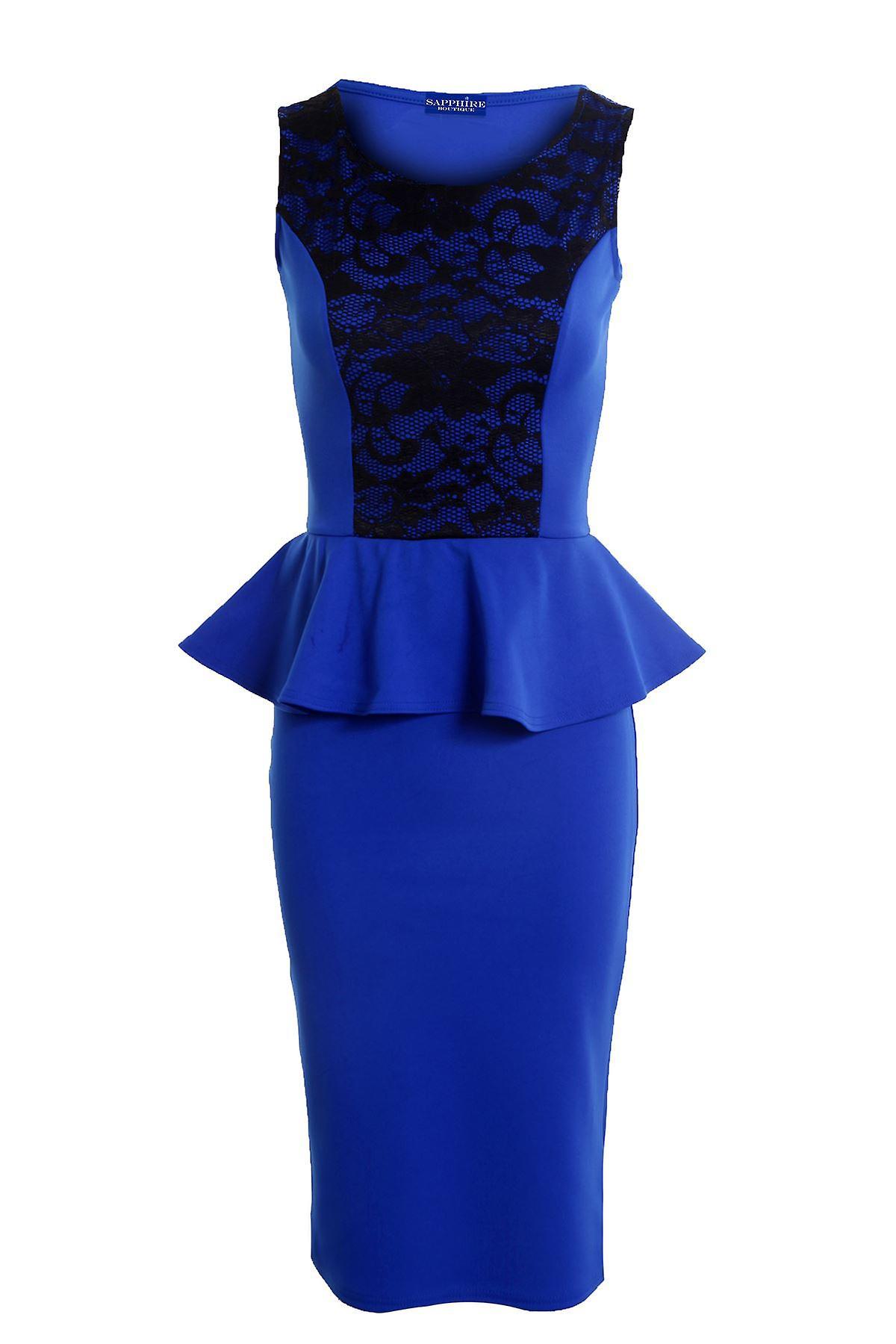 Uusi Naisten hihaton verkko lisää Peplum Nauha kukka kuvio naisten Bodycon mekko