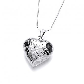 Cavendish French Sterling silver hammered puffed heart pendant without Chain