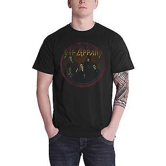 Def Leppard T Shirt Vintage Circle band logo distressed print official Mens