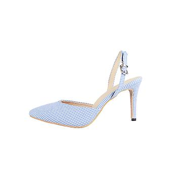 LMS Blue Pointed Toe Gingham Sling Back Court Shoe With Mid Heel