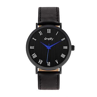 Vereinfachen Sie die 2900 Leder-Band Armbanduhr - schwarz