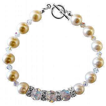 Swarovski-Creme Perlen & klare Kristall Armband mit Silber-Rondells