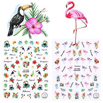 2pcs folhas de água flamingo nail Decoração