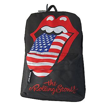 The Rolling Stones Backpack Bag USA Flag Tongue Band Logo new Official Black